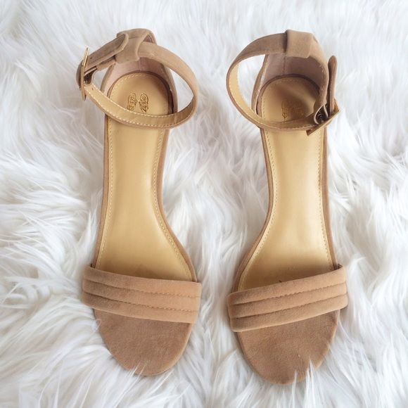 """SUEDE ANKLE STRAP HEELS Worn once. Very minimal nicks/ marks on outside, two teeny nicks of suede missing. Size 6. 3.5"""" heel *bundles save 10%** no holds/no trades/no modeling/no asking for lowest Shoes Heels"""