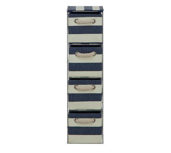 Buy HOME Tall 4 Drawer Storage Tower - Blue and White at Argos.co.uk - Your Online Shop for Bathroom shelves and storage units, Bathroom furniture, Home and garden.