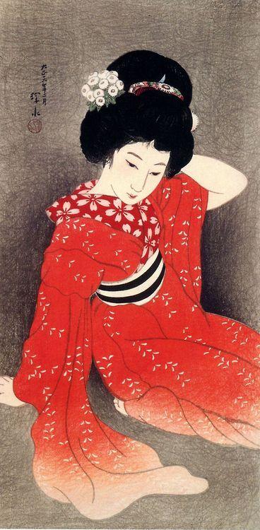 taishou-kun:   Ito Shinsui 伊東深水 (1898-1972) Young lady - 1917