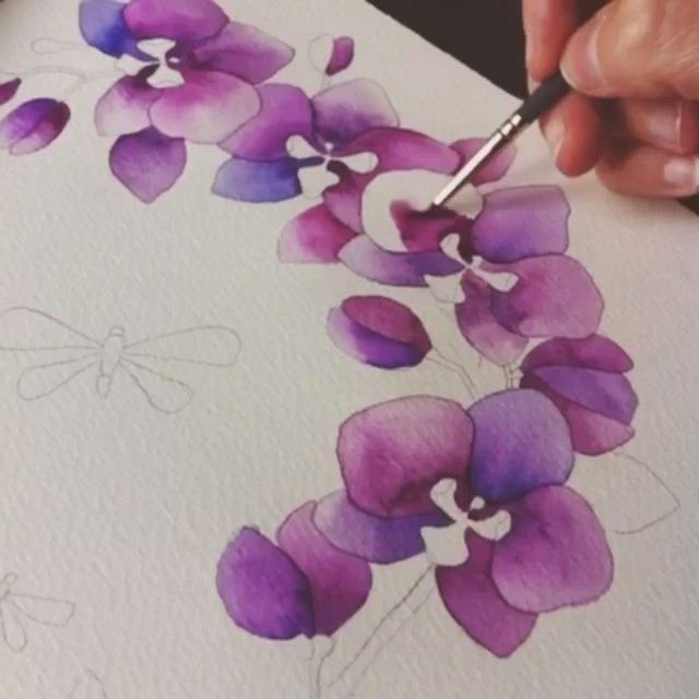 """My sister and I are both in the design industry and we look forward to the color of the year announcement every year! Color is my favorite part of painting. I spend a lot of time mixing my watercolors or acrylics to get the perfect tone. I was especially excited about radiant orchid, because flowers are my biggest inspiration!"" - Artist and Pantone #coloroftheyear fan @anavictoriana. How has Radiant Orchid inspired you? Share your work with #radiantorchid for a chance to be featured!"