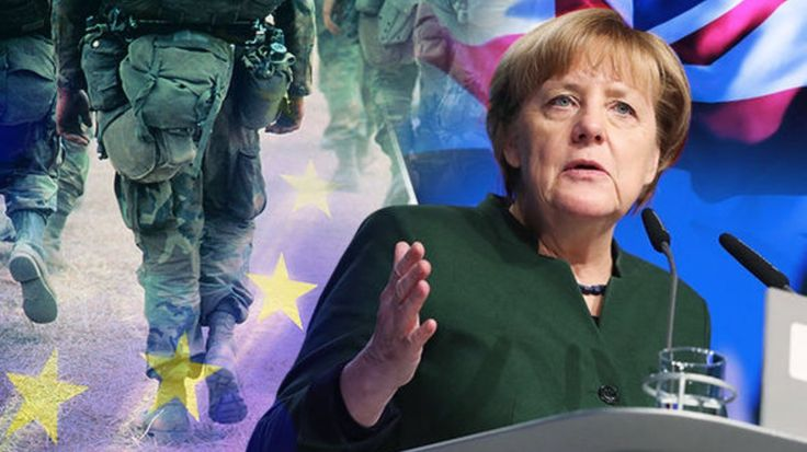 """Angela Merkel calls for German-led EU ARMY to defend Europe. """"UK and USA are WEAK"""" -- oh, please. This stupid twat couldn't lead a duck to water. It's her fault that the migrant/Muslim crisis in Europe is as bad as it is."""
