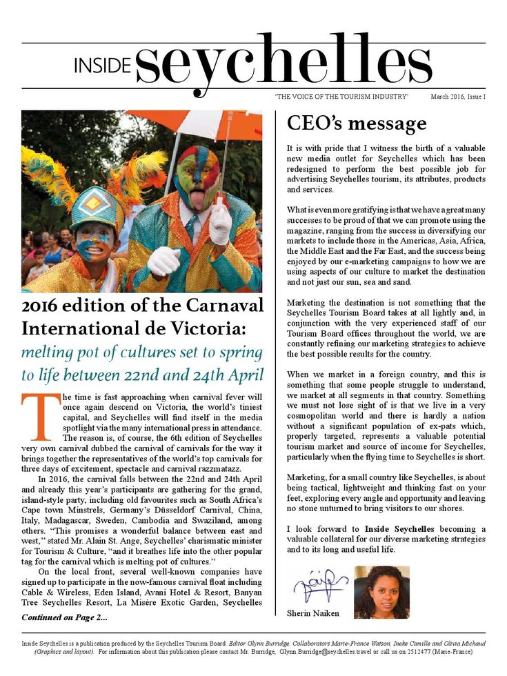 Inside Seychelles - The Voice of Seychelles Tourism  Tourism Newspaper looking at trends and within the market