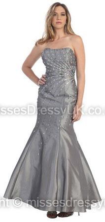 Trumpet/Mermaid Strapless Taffeta Floor-length Silver Rhinestone Prom Dress