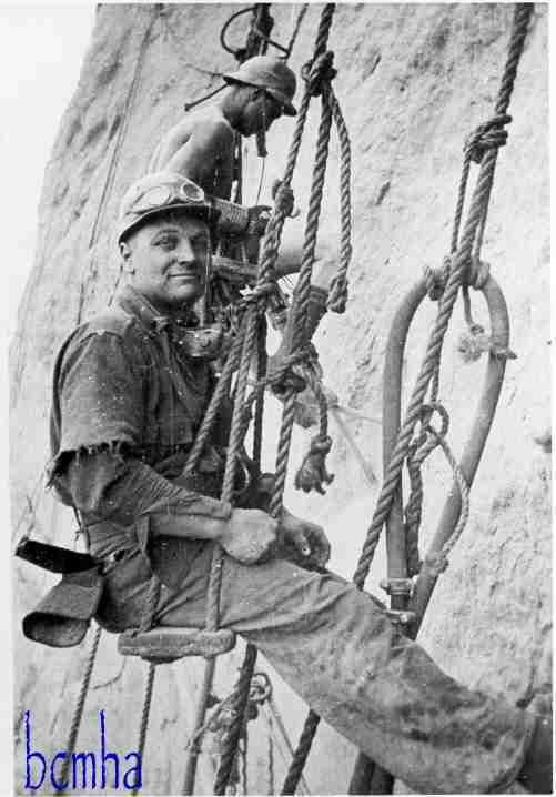 1932 High Scaler, preparing the canyon walls for construction of the Hoover Dam.