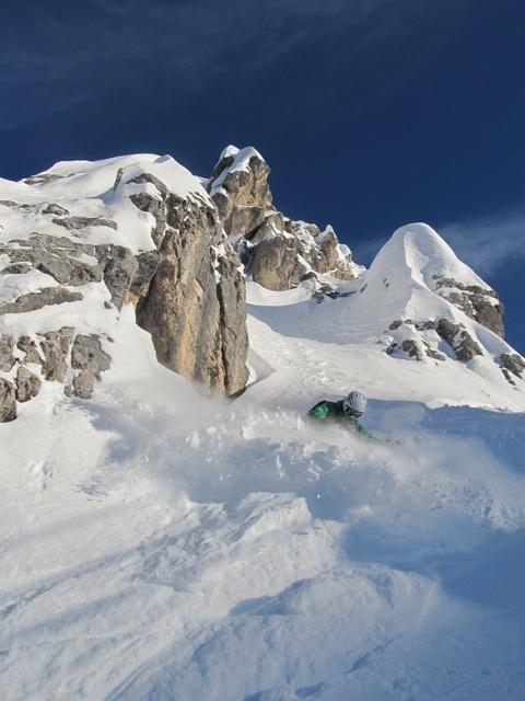 Ski Service Verbier Team rider Nancy Pellissier skiing the Dolomites. Winter 2013/2014