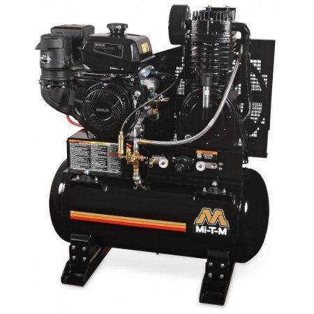 Mi-T-M ABS-13H-80H 80 Gallon Two Stage - Gaseoline Tank-Mount Air Compressor, 389cc HondaGX390 OHV engine, Pneumatic
