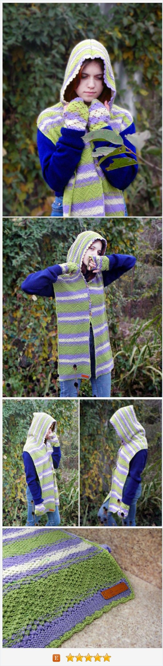 Wearing this set (hooded scarf and mittens) you can feel as a magic elf in lavender fields.  The striped scarf can fasten on the front with wood buttons like cardigan. Lavender is also shown on the buttons. It's fine gift idea for her, if she is young woman or teen, if she is nice and romantic.  #scoodie  #Lavender #Gift_ideas_for_her #Romantic #FairyKnitRU https://www.etsy.com/FairyKnitRU/listing/551289758/hooded-scarf-set-mittens-scoodie-warm?ref=shop_home_active_18