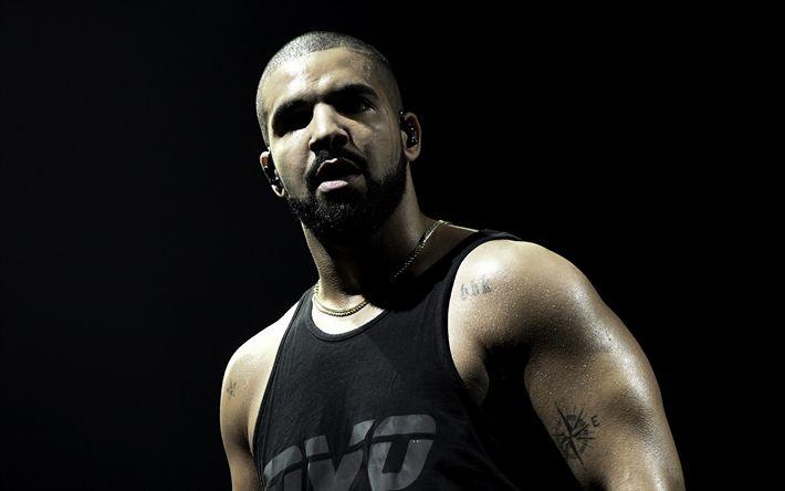 Télécharger fonds d'écran Drake, Aubrey Drake Graham, 4k, concert, le rappeur Canadien, la chanteuse Canadienne, portrait