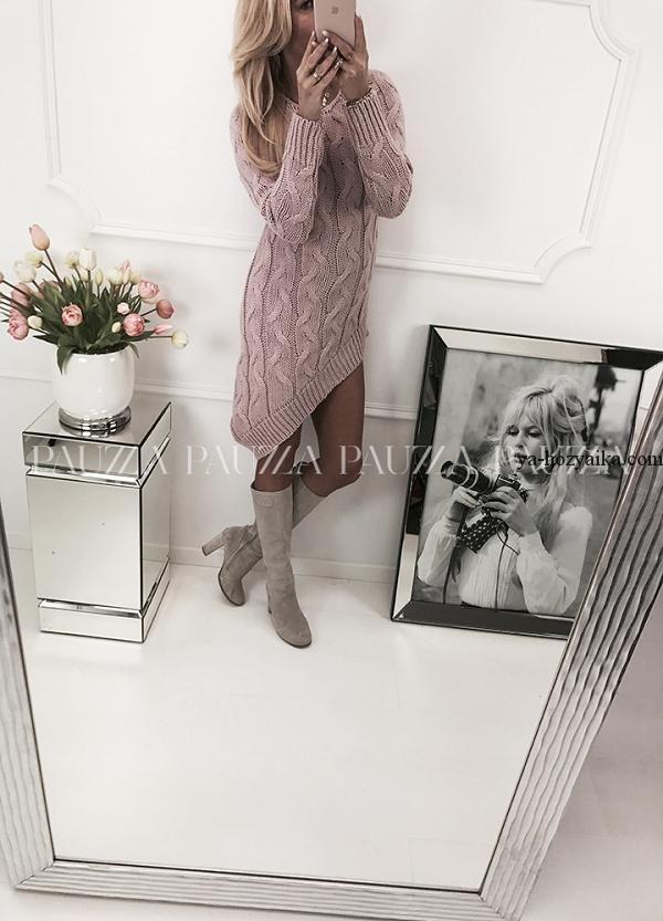 платье спицами из объемных кос модное платье спицами 2018 описание