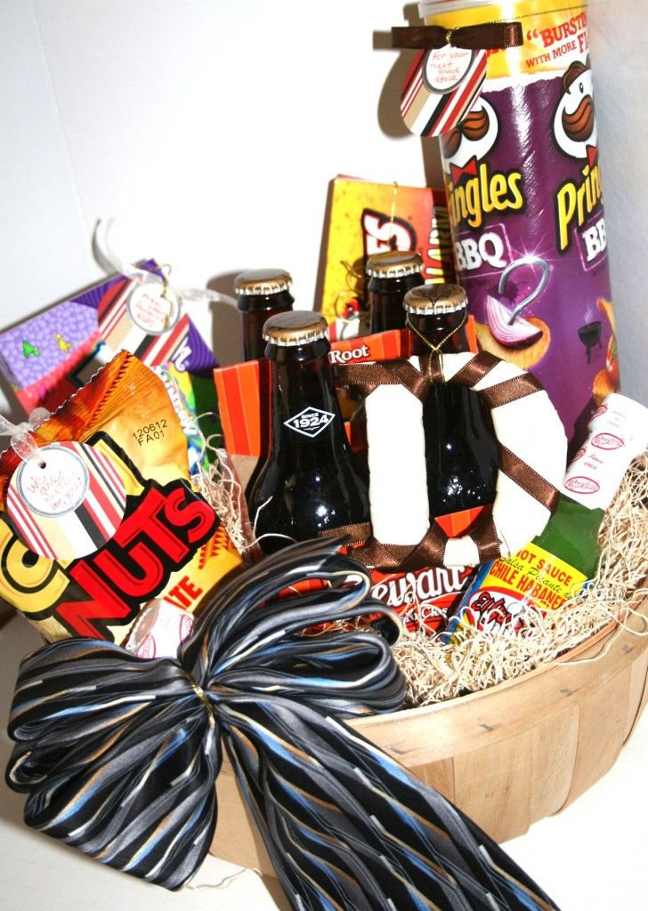 Father's Day Gift Basket with DIY gift tags and learn out to make a bow with a Tie