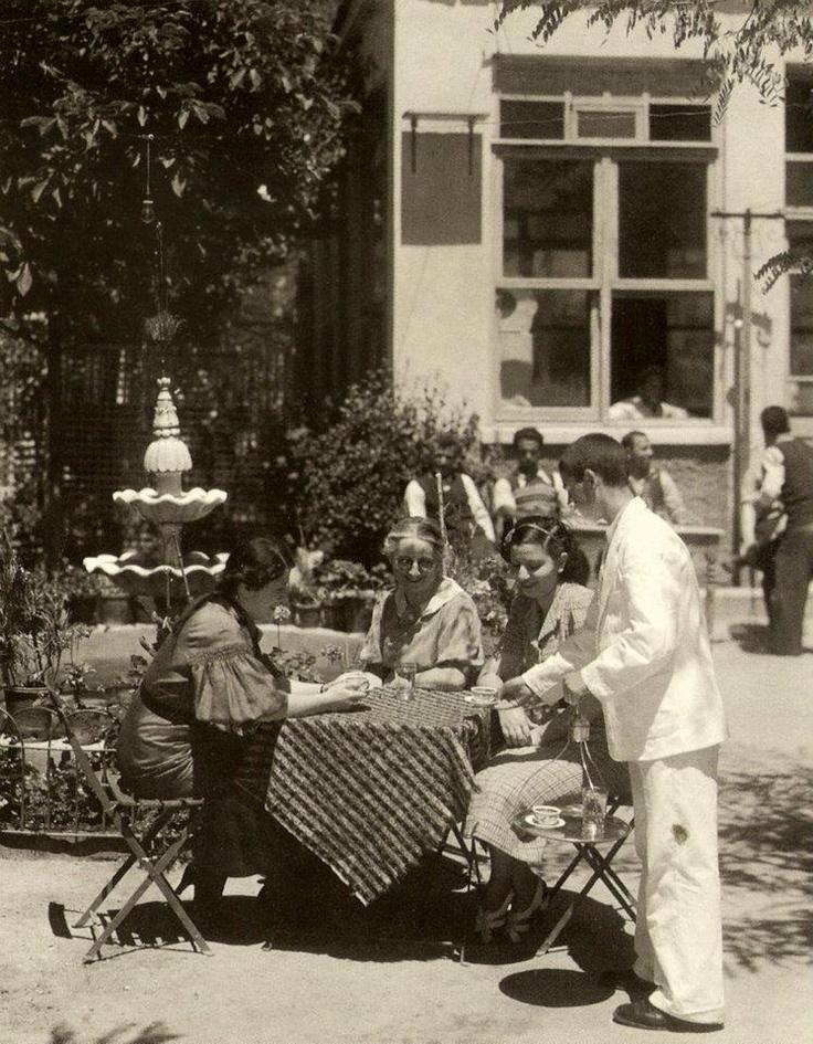 ✿ ❤ Bir zamanlar İstanbul, Sometime in 30's maybe. Bebek Kahvesi. One of the top examples of Turkish Cafe'