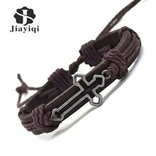 US $1.89 Jiayiqi New Genuine Leather Bracelet for Women Mens Bracelets Hollow Cross Charm Cuff Bracelets Bangles Men Jewelry. Aliexpress product