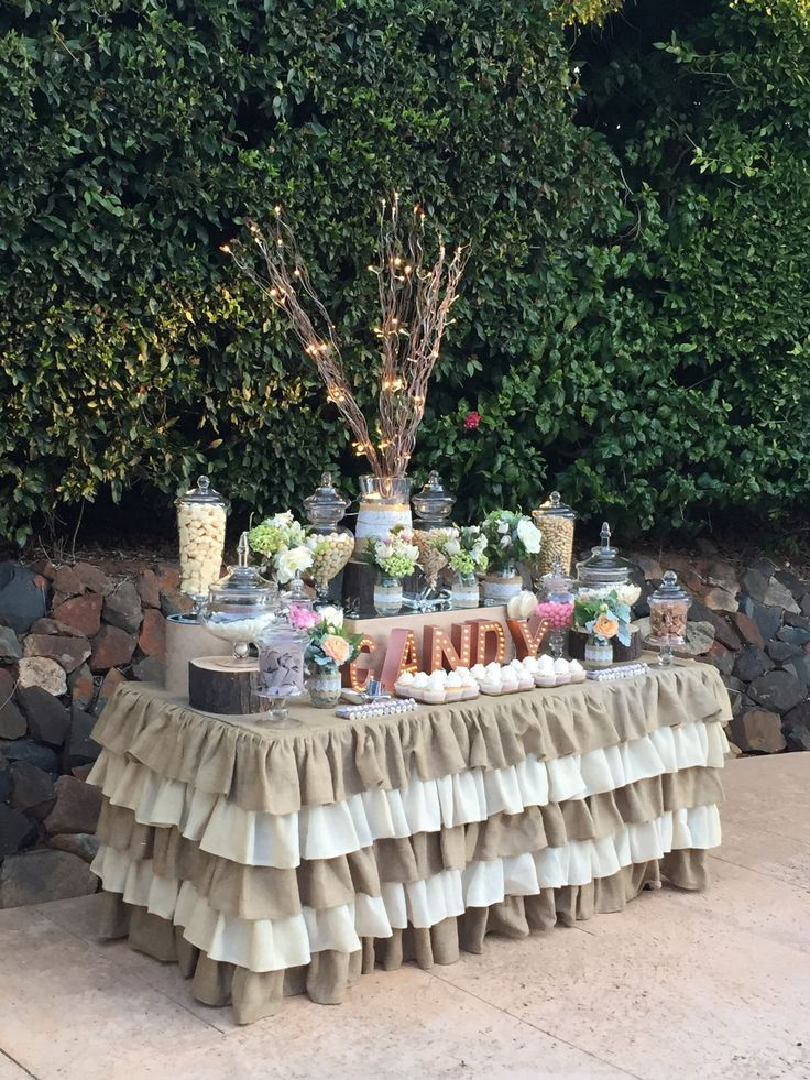 Candy Buffet for a Vintage Garden Wedding, Bespoke, Burlap and Bark dessert buffet. Red Velvet and Vanilla Cupcakes.