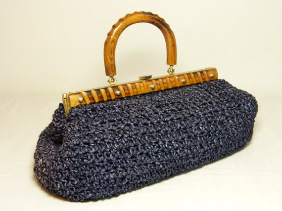 Navy blue woven raffia handbag with wood top handle - French 50s 60s vintage