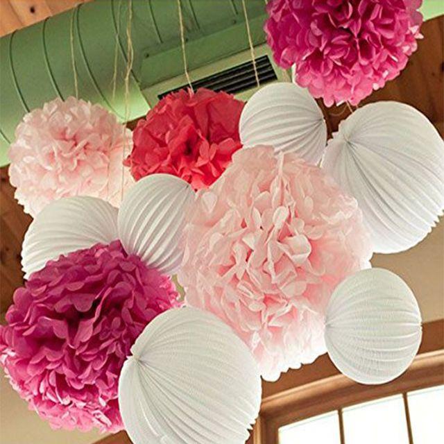 9 stücke Hochzeit Dekoration Runde Papier Gefalteten Laternen Seidenpapier Pom Poms Blume Baby Dusche Festival Geburtstag Hänge Lieferungen