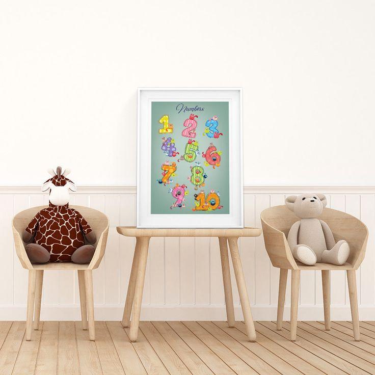 Numbers, Digital Download, Nursery decor, Nursery art, Printable poster, Nursery Wall Art, Printable poster, Instant Download Poster, Poster by ThePapeland on Etsy