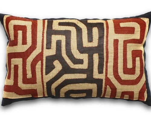 Handmade from natural fibres in Kuba, this vibrant throw pillow is striking with its organic feel and dramatic print. All our pillows are generously stuffed with North American approved down.  Pillowcases feature invisible zippers.
