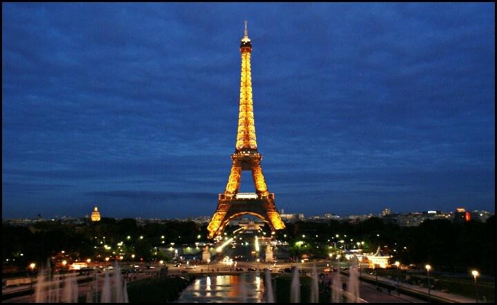 Paris France Tour Eiffel Night Lights