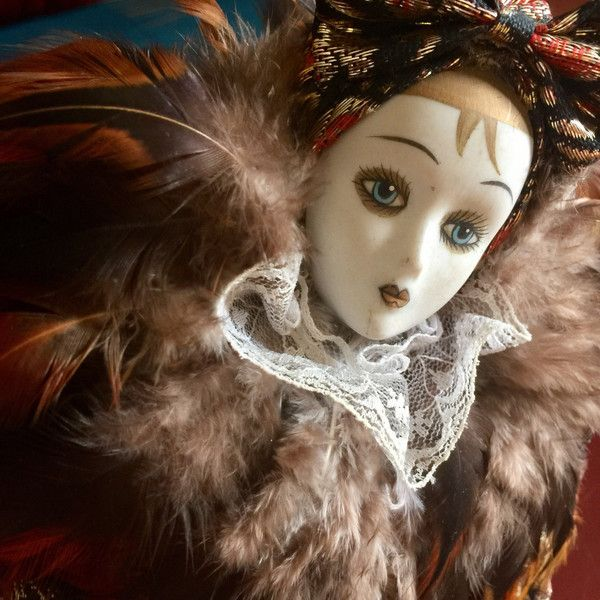 Porcelain Venetian Feather Carnival Doll Ceramic Pierrot Harlequin... ($78) ❤ liked on Polyvore featuring home, home decor, diamond home decor, clown statue, ceramic figurines, porcelain figurines and ceramic home decor