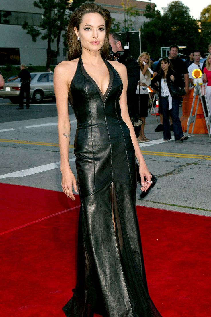 Angelina Jolie | June 2005 Back in black leather for the LA premiere of Mr & Mrs Smith.