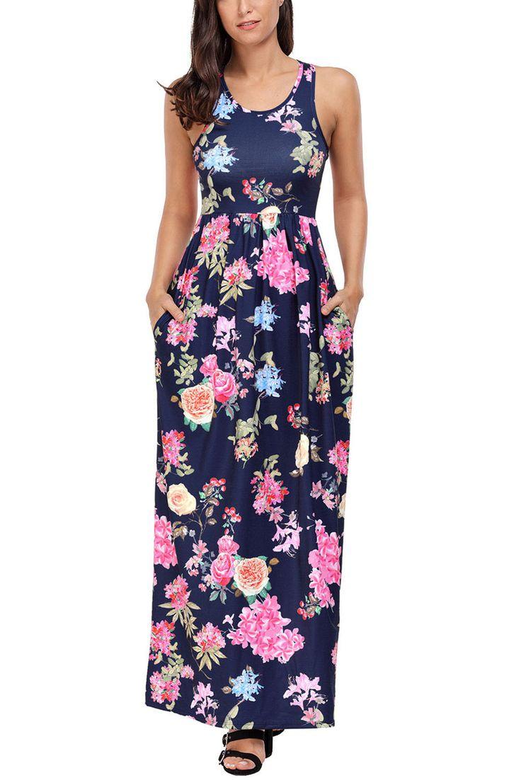 Navy Flourish Print Sleeveless Long Boho Maxi Dress https://www.modeshe.com