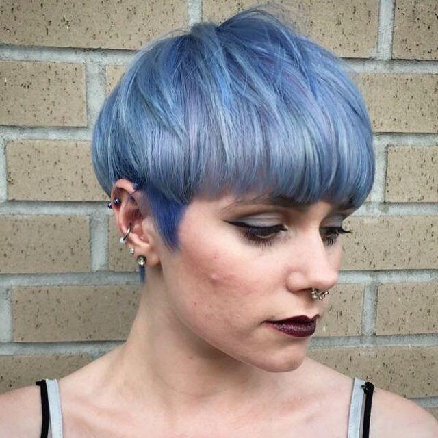 Pastel Blue bowl cut. Colour by Sara Burke using LaBiosthetique colour line.
