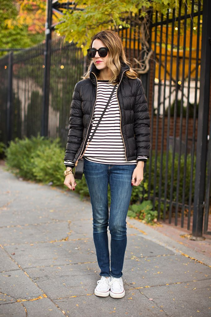 DETAILS. Black Puffer Jacket (on sale) // Forever 21 Striped Tee (old similar here & here) //...