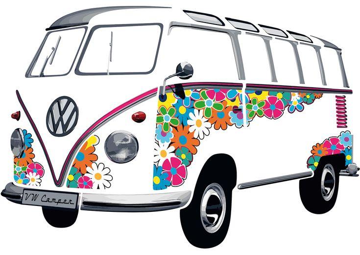 Campervan Gift - VW T1 Flower Classic Wall Decal Sticker, #kombilove