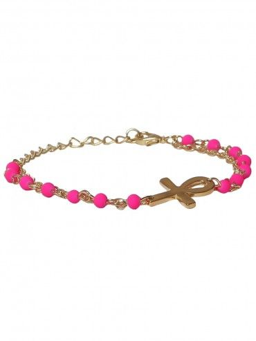 Double strand bracelet featuring a simple, gold tone chain and one accented with hot pink beads and an ankh charm at the center
