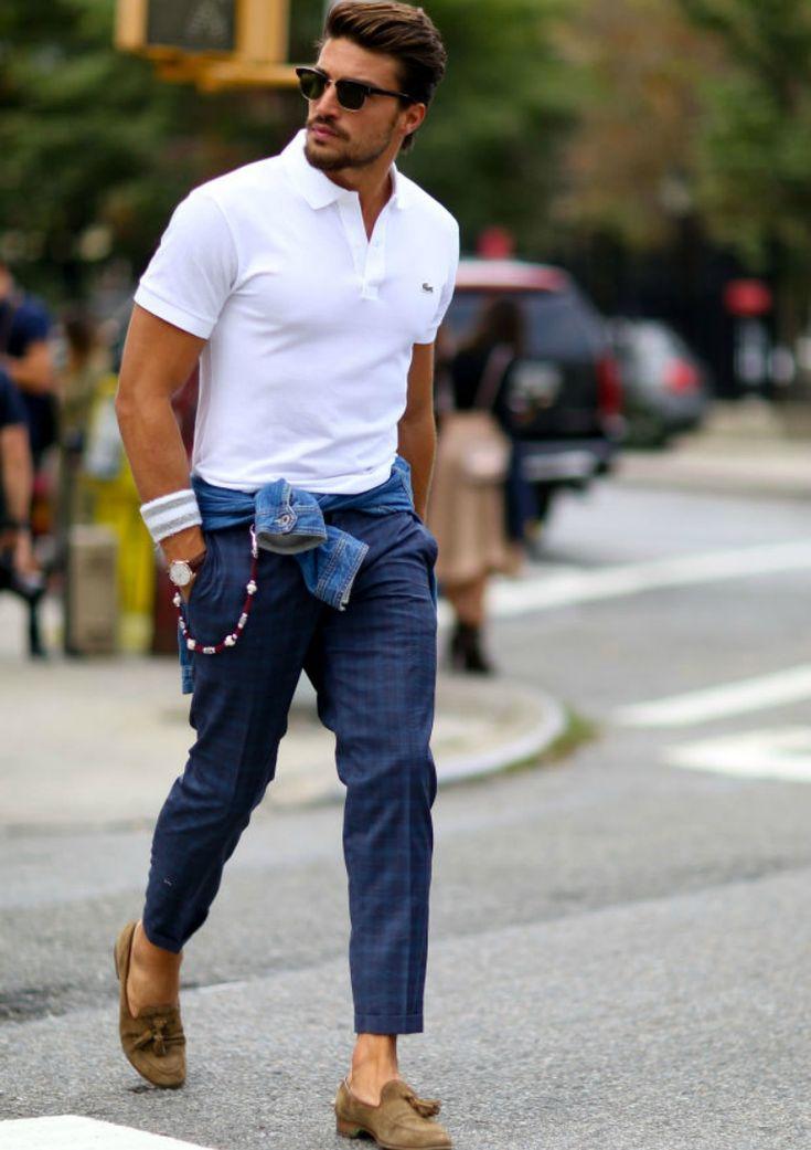 white polo shirt mens street style