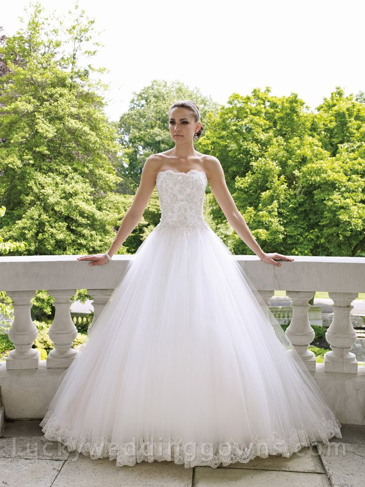 Strapless Tulle Ball Gown Wedding Dress with Scalloped Neckline