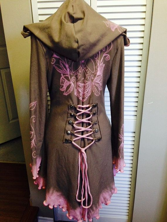 OOAK corset laced taupe pink hand painted by FayeTalityCouture