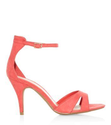 Wide Fit Orange Ankle Strap Open Toe Heels