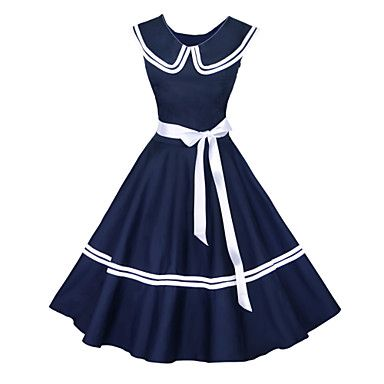 Maggie Tang Women's 50s Vintage Nautical Sailor Rockabilly Hepburn Pinup Business Swing Dress 526 – USD $ 36.99