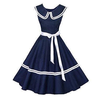 Maggie Tang Women's 50s Vintage Nautical Sailor Rockabilly Hepburn Pinup Business Swing Dress 526 – USD $ 36.99