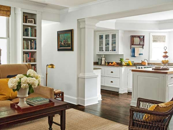 Column detail - living room with rectangular columns open to kitchen, victorian whole house remodel
