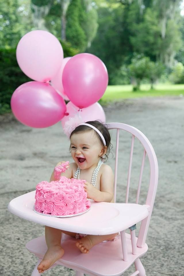 Cake Ideas For Baby Girl 1st Birthday : Baby girl smash cake Vintage high chair Isabella Summer ...