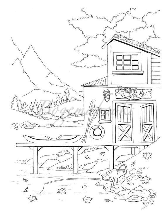 Nice Little Town 3 (Adult Coloring Books, Digital Coloring