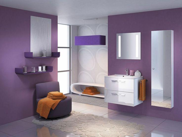 Purple Theme Contemporary Bathroom Design With White