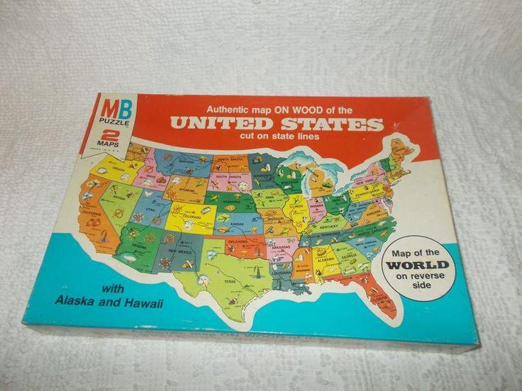 Milton Bradley Authentic Map On Wood United States & World Puzzle Vintage 1975  #MiltonBradley