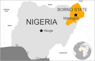Map of Nigeria with Borno State highlighted.