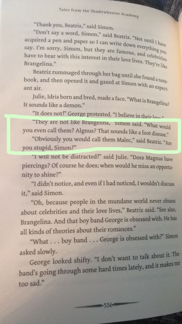 Beatriz and Julie fangirling over Malec in Tales from the Shadowhunter Academy. I LOVE THIS BOOK SO MUCH! Cassandra Clare is amazing!