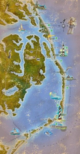 Tourist map of the Outer Banks region of North Carolina. Spans from Ocracoke, NC to Carrituck, NC. I would LOVE to travel North Carolina.