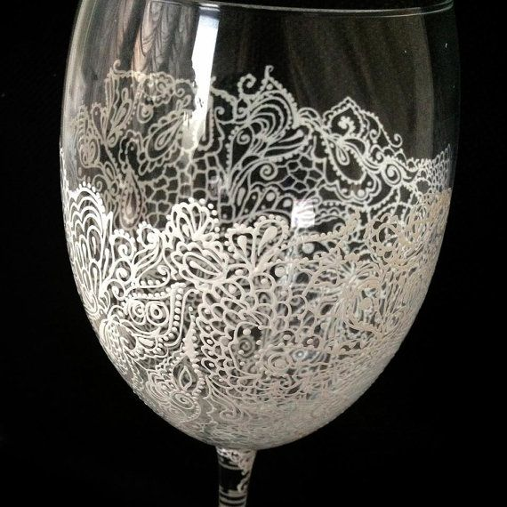 Personalized Hand Painted Wine Glass goblet  Flute by AlenaShop, $32.00 wedding bridal toasting flutes favours lace veil dress gown bikini sexy white