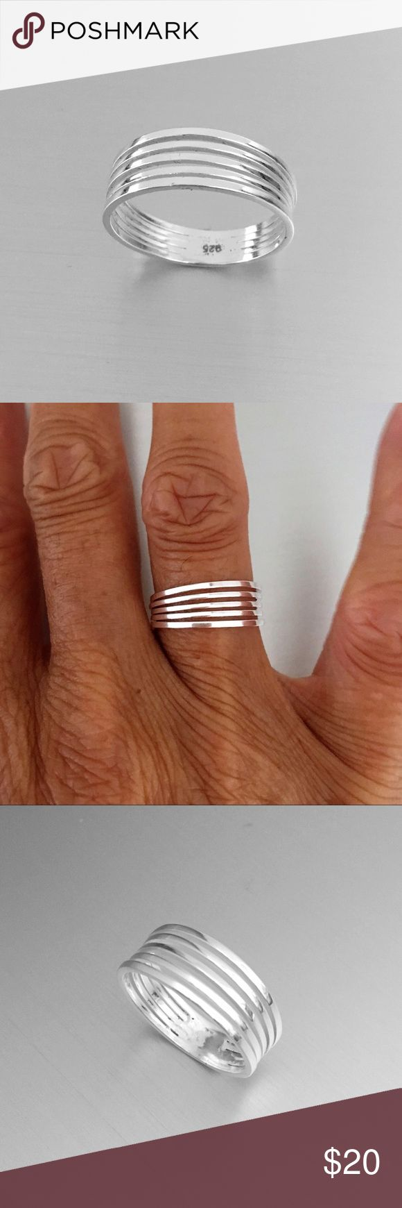 Sterling Silver Plain Ring Sterling Silver 5 Thin Band Attached Band Ring, Pinky Ring, Index Ring, Thumb Ring, 925 Sterling Silver, Face Height 7 mm Jewelry Rings