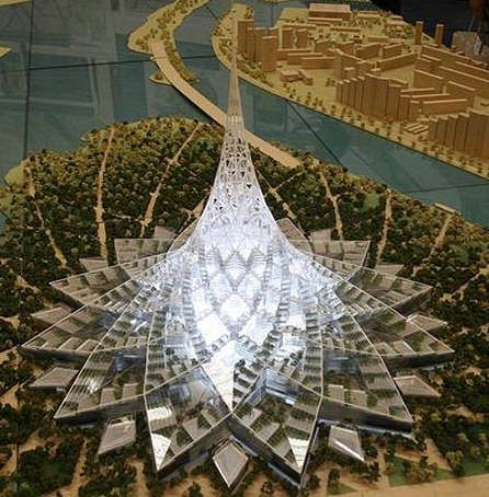 Crystal Island is a proposed building project in Moscow, Russia that is currently planned to have around 2,500,000 square metres (27,000,000 square feet) of floor space and a height of 450 metres (1,476 ft) designed by Norman Foster. Flat-Horizontal.