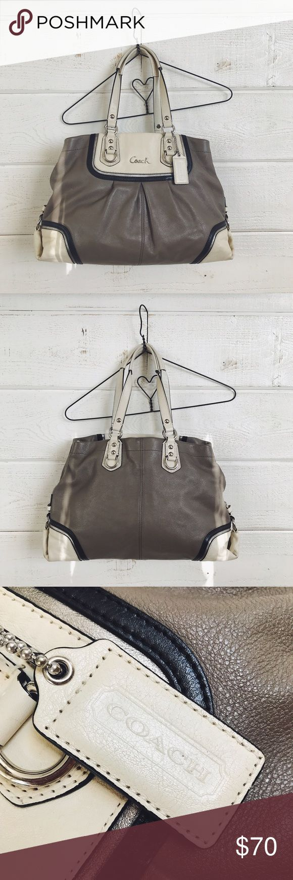 """Coach Purse this coach purse is lightly used, but is still in great condition! aside from the small scuffs on the bottom corners of the purse, it has been well taken care of and is extremely clean, especially the inside! it is 11.5""""x15"""". no trades. Coach Bags"""