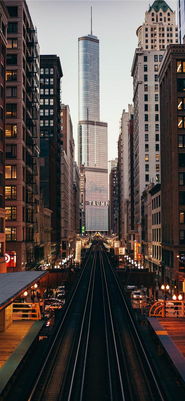 The Cta Iphone X Wallpaper Night Train Building Trumptower Trump Photography Wallpaper City Wallpaper City Aesthetic
