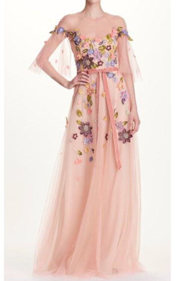 250142e4 Marchesa Notte N23G0579 Blush Floral Beaded Tulle Evening Gown | Poshare