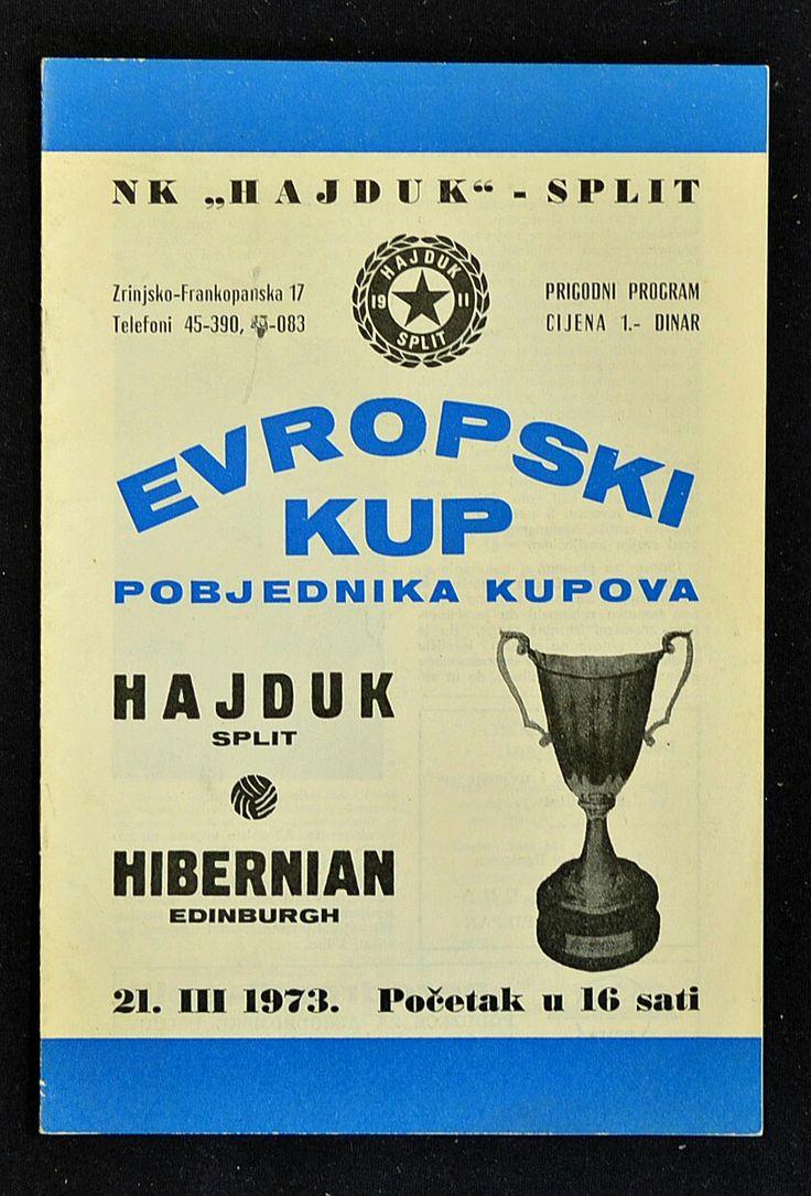 Hajduk Split 3 Hibernian 0 (5-4 agg) in Split. The programme cover for the European Cup Winners Cup Quarter Final, 2nd Leg.